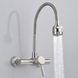 $enCountryForm.capitalKeyWord Australia - Free Shipping Stainless Steel material Wall Mounted Kitchen sink mixer faucet With free rotation hose mixer water Tap