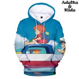 Wholesale cool 3d hoodie for sale – custom 2019 Ponyo on the cliff D Hoodies Sweatshirt family outfits street Parent children Hoodies Pullovers cool family kids clothing