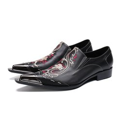 $enCountryForm.capitalKeyWord Australia - Fashion Leather Shoes Exquisite Embroidery Pointed Tide Dress male paty prom shoes for Men Business Style Office Shoes
