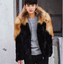 mens thick fur coats 2019 - Mens Furry Fur Long Sleeves Hooded Outwear Thicken Warm Fashion Style Coat Parkas Outwear Luxury cheap mens thick fur co