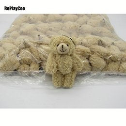 mini doll bear joints Australia - 50pcs lot Kawaii Small Joint Teddy Bears Stuffed Plush With Chain 12cm Toy Teddy-bear Mini Bear Ted Bears Plush Toys Gifts 08902 MX190723