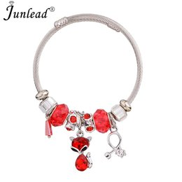 Wholesale Junlead New Chunky Fashion Alloy Letter Bracelet Bangle Crystal Leaf Fancy Beaded Love Pendant Bracelet Bangle For Women Jewelry