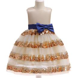 Discount best knee balls - Best selling new girls dress  Children's Day dance performance bow dress  summer children's baby Layering sequ