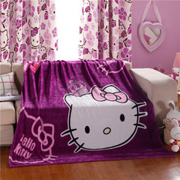 baby beds for girls 2019 - Cartoon Hello Kitty KT Cat Purple Pink Plush Lightweight Blanket Throw on Couch Bed Plane Flatsheet for Girls Baby Child