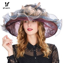 Women Organza Hats Australia - wholesale Women Summer Beach Sun Hat Fashionable Organza Floral Ruffles Wide Large Brim Tea Party Ladies Wedding Sun Hats Sunbonnet