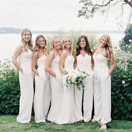 jumpsuit floor length dresses Australia - 2020 cheap White Jumpsuit Long Bridesmaid dresses With Sweetheart Pleats Floor Length Custom MAde Long MAid Of Honor Gown