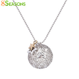 flower life silver Australia - 8SEASONS Copper Flower Of Life Charms Pendants Round Necklace Silver Tone Color Hollow Carved Summer Boho Handmade 67cm 1 Piece