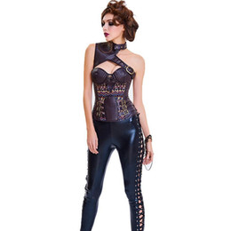 cosplay costumes corsets Australia - Corset Gothic Bohemia Bustier Slimming Corselet Sexy Corset Women Single Shoulder Choker Cut Out Vampire Cosplay Corset Tops Costume