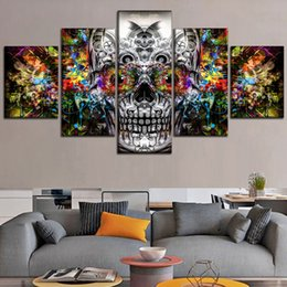 painting colours NZ - Abstract Colours Artistic Skull,5 Pieces Canvas Prints Wall Art Oil Painting Home Decor (Unframed Framed) .