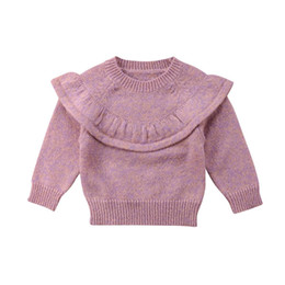 boys ruffle top UK - 2018 Newly Autumn Winter Lovely Toddler Baby Girls Sweater Tops Long Sleeve Solid Ruffles Pullover Tops Outfit 0-3Y