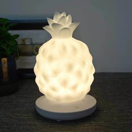 Pineapple Gel Australia - Creative children bedside lamp charged LED desk lamp USB charged pineapple night lamp cute silica gel