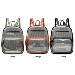 stripe backpacks UK - Women Transparent PVC Backpack Classic Texture Delicate Creative Chic Stripe PU Splicing Student Travel Shoulder Bag