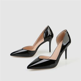 Pointing Nude Women Shoes Australia - Women Dress Shoes Nude Pointed Toe 9CM High Heel Pumps High Quality Patent Leather Female Sexy Wedding Shoes Q-311