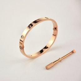 $enCountryForm.capitalKeyWord Australia - 2019 316L Titanium steel silver rose gold bracelet nail punk lovers bangle Couple Jewelry with original Dust Bag set for women and men