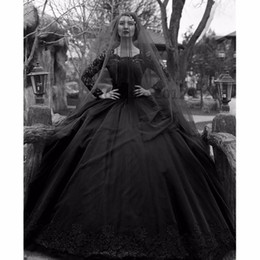 Backless Wedding Dress Veils UK - 2019 Elegant Black Wedding dresses Ball Gowns Lace Appliques Long Sleeve Beaded Court Train Modest Wedding Bridal Gowns With Veil Custom