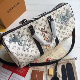 South american ShoeS online shopping - 2019 good quality men white animal keepall travel totes bag handbag louis vuitton luggage shoes not off shed wool D2633