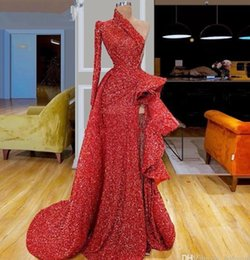reflective straps Canada - 2020 Reflective Prom Dresses Red One Shoulder Sequins High Split Evening Gowns Long Sleeve Ruffles Ruched A Line Sweep Train Party Wear