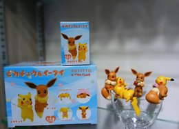 "Eevee Figure Australia - Hot New 6Pcs Lot 1.5""-2"" 4CM-5CM PKC Eevee Cup Edge Decoration Figure With Box Anime Collectible Action Figures Best Gifts Toys"