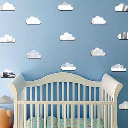 Nursery Room Wall Stickers Australia - 10pcs set Acrylic Mirror Cartoon Clouds Wall Stickers For Kids Rooms Baby Nursery Wall Decal Wedding Decor DIY Art Mural Poster