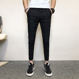 men pants styles NZ - Plaid Slim Fit Pants Men 2019 New Summer Cool Black Ankle-Length Pants Man Stylish Koran Style Thin Checkered Men's Trousers