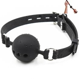 Sex Open Ball Australia - Fetish Extreme Full Silicone Breathable Ball Gag, Breathable Open Mouth Gags,Adult Sex Toys For Couple Size S M L C18112701