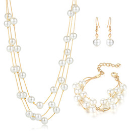 $enCountryForm.capitalKeyWord Australia - Simple and multi-layer Imitation Pearl Jewelry Set Simulated Pearl Double Layer Women Earrings Necklace Bracelet Sets for Wedding