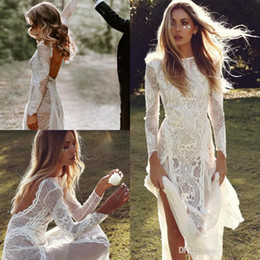 Wholesale hippie lace dress for sale – plus size Sexy Backless Bohemian Country A Line Wedding Dresses Full Lace Sheer Long Sleeves Hippie Beach Boho Bridal Gowns Cheap Custom Made