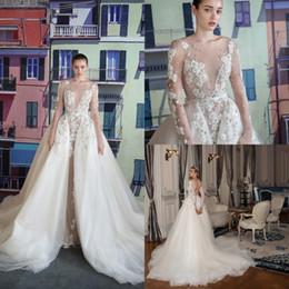 $enCountryForm.capitalKeyWord Australia - 2020 Vintage Lace Appliqued A Line Wedding Dresses With Detachable Train Luxury Sheath Backless Deep V Neck Plus Size Bridal Gown