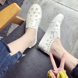 ShoeS flat feet men online shopping - 2019 new autumn wild hollow breathable flat bottom one foot casual shoes tide