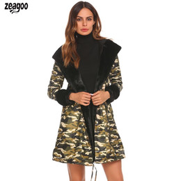 Floral Longer Hooded Winter Parka Australia - Women Casual Camouflage Hooded Long Sleeve Solid Spring, Autumn, Winter Floral Fleece Slim Waist Parka Coat