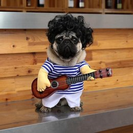 Discount dog guitar Pet Guitar Player Cosplay Dog Cat Costume Guitarist Dressing Up Party Xmas New Year Clothes For Dog Cats Costume