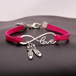$enCountryForm.capitalKeyWord Australia - Woman Boho Rose Red Leather Suede Charm Bracelets for Women Men Vintage Infinity Love Dance Shoes Bracelet & Bangles Pulseras Ethnic Jewelry