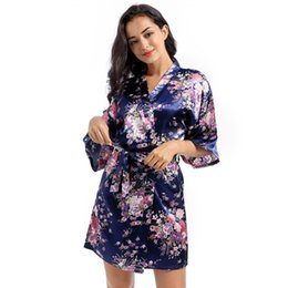 Wholesale womens pjs for sale - Group buy Womens Solid Royan Silk Robe Ladies Satin Pajama Lingerie Sleepwear Kimono Bath Gown pjs Nightgown Home Clothing