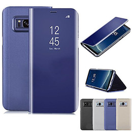 View Window Case Australia - Mirror Window View Wallet Leather Case Flip Stand Electroplate Phone Cover For Samsung S9 Note 9 S8 A7 J4 J6 2 iPhone X