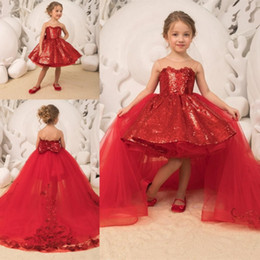 Communion flower online shopping - Ball Gown Girls Pageant Dresses Detachable Train Sheer Sequined Flower Girl Dress Back Bow High Low Kids Communion Dress For Birthday