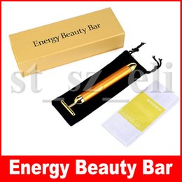$enCountryForm.capitalKeyWord NZ - 24K Energy Beauty Bar Golden Derma Roller Energy Face Massager Beauty Care Vibration Facial Massage Electric