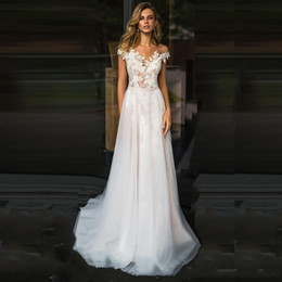 cap sleeve elegant wedding dresses Australia - elegant white tulle a line wedding dresses 2019 lace cap sleeves sweep train country wedding gowns appliques beach bridal dresses