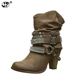 female big boots Canada - Women's boots crystal spike heels ankle boots big size 4.5-10.5 hard-wearing designer female boot 2018 fashion autumn889