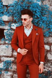Images Fashionable Suits Australia - Fashionable One Button Groomsmen Peak Lapel Groom Tuxedos Men Suits Wedding Prom Dinner Best Man Blazer(Jacket+Pants+Tie+Vest) A177