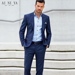 Navy blue tail suit online shopping - New Classic Dark Blue Groom Tuxedos Cheap Slim Fit Notched Lapel Wedding Prom Men Suit Best Men Tail Coat Custom Jacket Pants