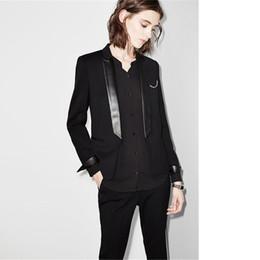 262743d31 Pantalón negro traje Ropa de trabajo elegante Trajes de negocios para  mujeres Damas Diseños de uniformes de oficina Esmoquin para mujer Trajes de  pantalón ...
