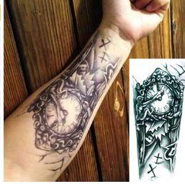 891f1e15e Black 3D Sexy Fake Transfer Tattoo Chest Clock Tatoos For Men Temporary  Large Mechanical Arm Tattoo Sticker Women
