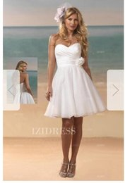 Strapless Satin Short Wedding Dresses Australia - A-Line Princess Strapless Sweetheart Short Mini Satin Organza Wedding Dress031