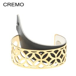 fishing hooks brands UK - Cremo Cuff Bangles Brand Wedding Gold Color Stainless steel Bracelets Femme Manchette Interchangeable Leather Band Pulseiras C19010401