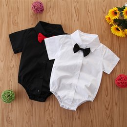 Jumpsuit for baby boy months online shopping - Cute Gentleman Print Newborn Baby Boys Girls Cotton Clothes Short Sleeve Letter Romper Jumpsuit Outfit For Months Baby GPS