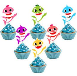 Tarjeta de Pastel de tiburón Animal Cake Toppers 6 unids / set Cupcake Inserta Tarjeta de Cumpleaños Bebé Shark Decor Kids Party Supplies GGA1949