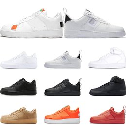 Discount men casual grey shoes - Men 1s Utility Classic Black White Women Casual Shoes red one Skateboarding High Low Cut Wheat trainers Sports Sneakers