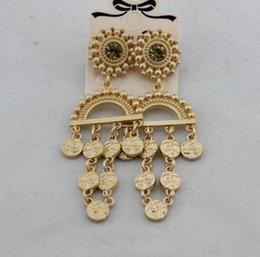 Korean new product online shopping - 2019 hot new products on the European and American big brand wind Baroque money coins chain earrings female Korean ornaments