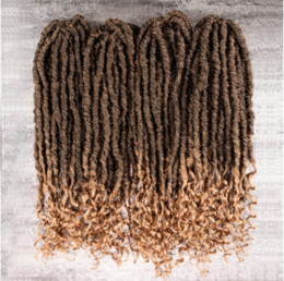 African American Hair Wholesale Australia - Goddess Locs Hair Type Natural Texture & Look Wavy Ends Faux Locks with Pre-made Loops Crochet Braids for American African Women