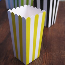 $enCountryForm.capitalKeyWord Australia - 6pcs Popcorn box colorful chevron stripes dot Gold Gift Box Party Favour Wedding Pop corn kid party decoration bags loot
